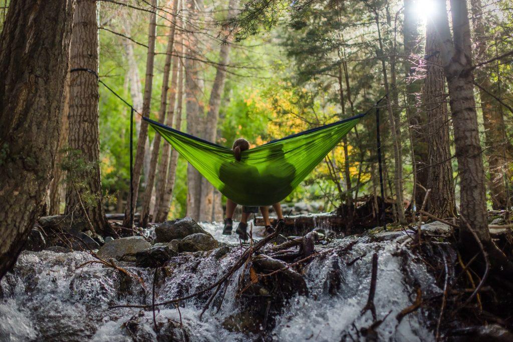 ein liebendes Paar sitzt auf einer Schaukel im Wald