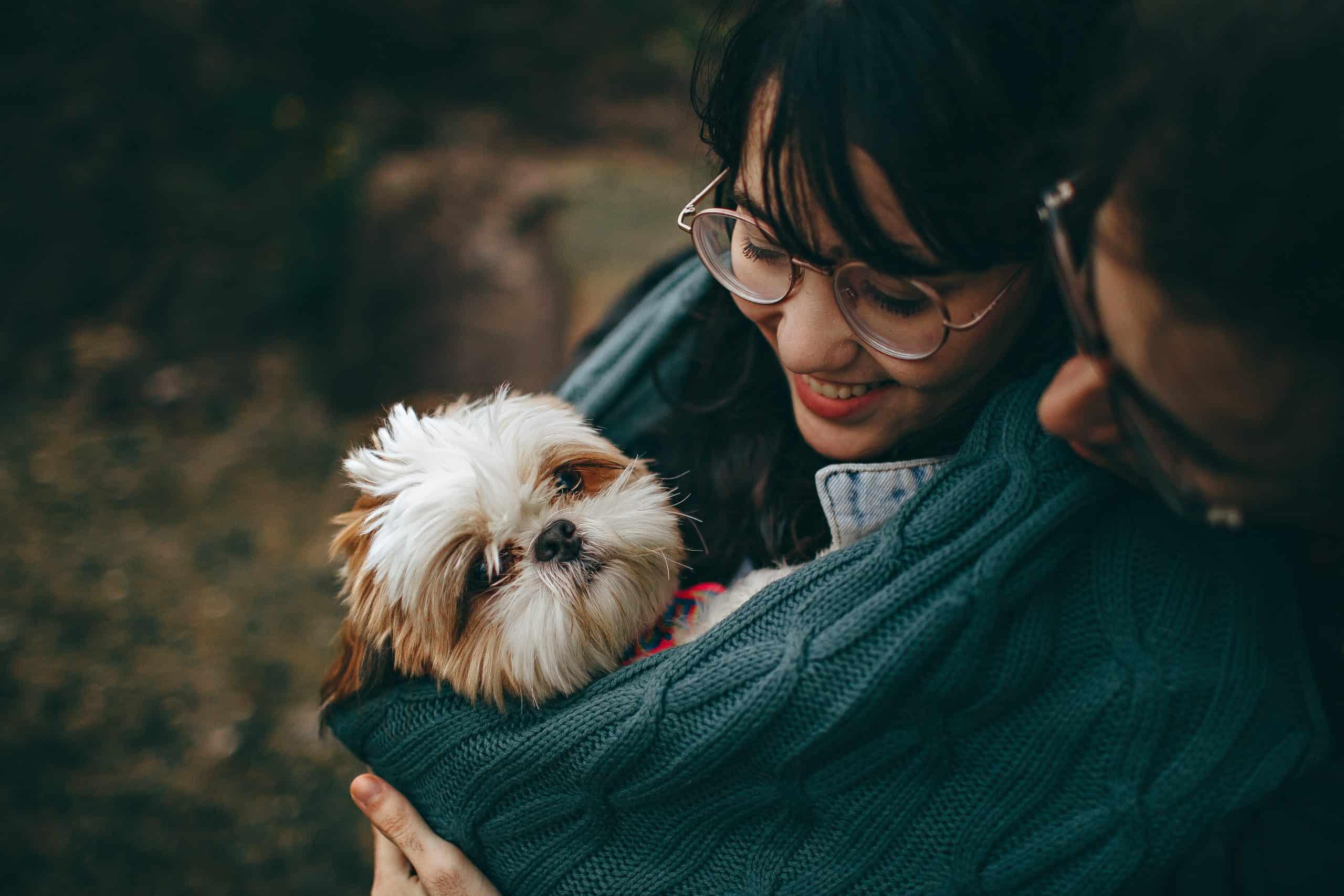 Ein Ehepaar, eingewickelt in eine Decke mit einem kleinen Hund