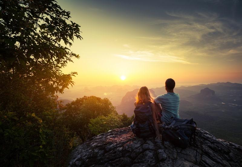 couple watching sunrise