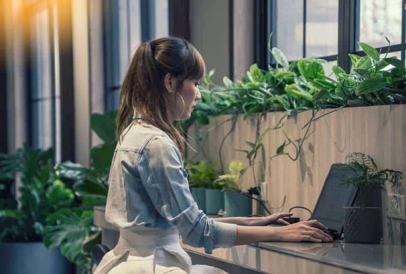 Asiatische Frau, die eine Bewerbung mit Laptop am modernen Büro des Co-Arbeitsraums ausfüllt