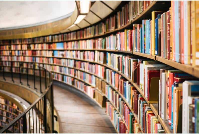 Bücher auf braunem Holzregal