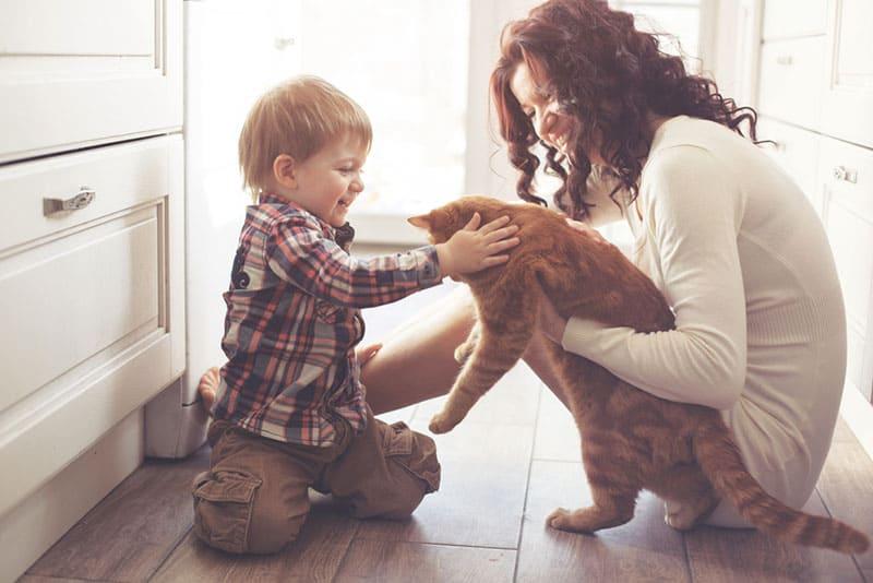 Frau, die dem Kind eine Katze gibt