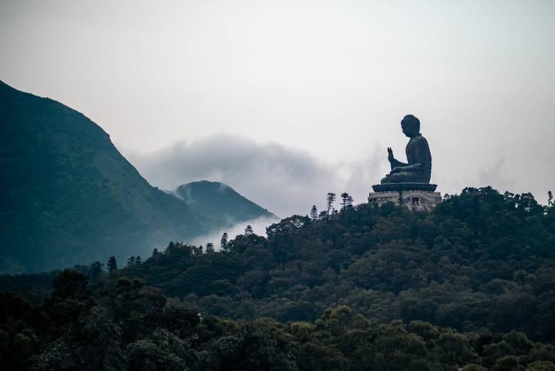 schwarze und graue Buddha-Statue auf Hügel