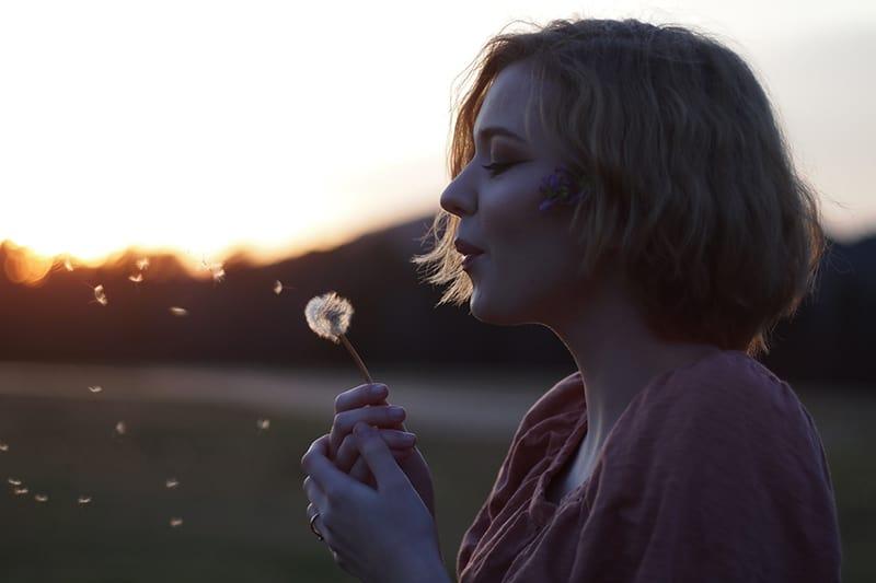 eine Frau, die eine Löwenzahnblume in der Natur während des Sonnenuntergangs bläst