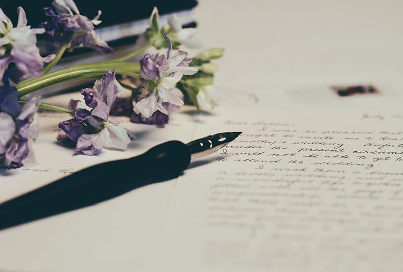 Lila Blume nahe Liebesbrief mit Stift darauf