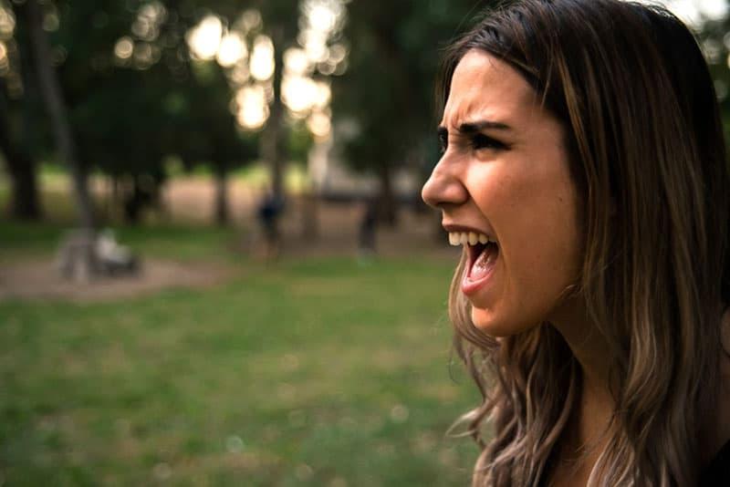 wütende Frau schreit jemanden an