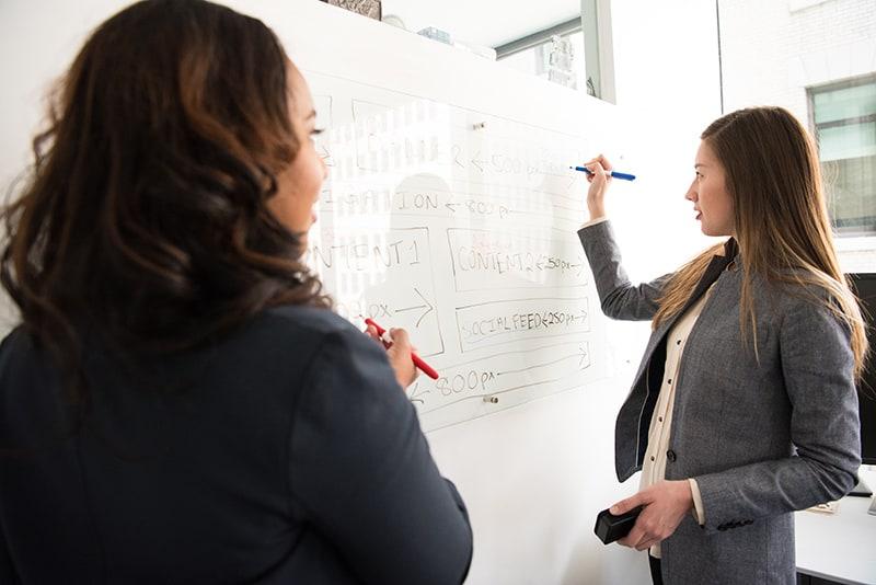 zwei Kolleginnen, die während der Arbeit vor einem Whiteboard stehen