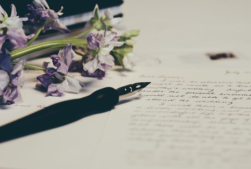 ein Liebesbrief in der Nähe des Stiftes und lila Blumen