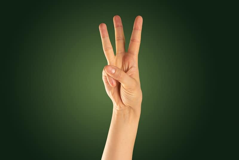 eine Person hebt die Hand und zeigt die Nummer drei mit den Fingern