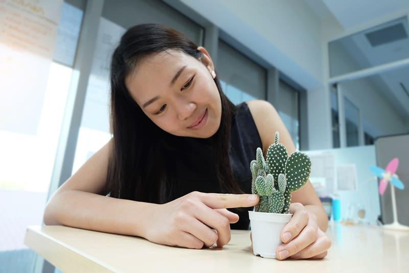 lächelnde Frau, die Kaktus im Raum berührt