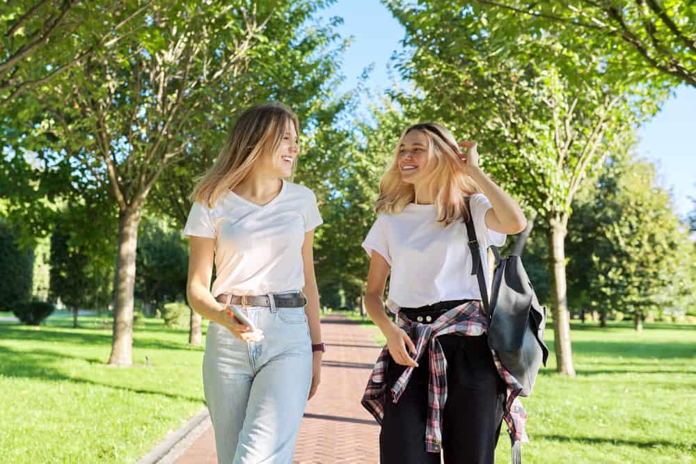 zwei lächelnde Freunde, die im Park gehen