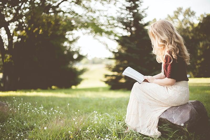 eine Frau, die ein Buch liest, während sie auf dem Felsen im Park sitzt
