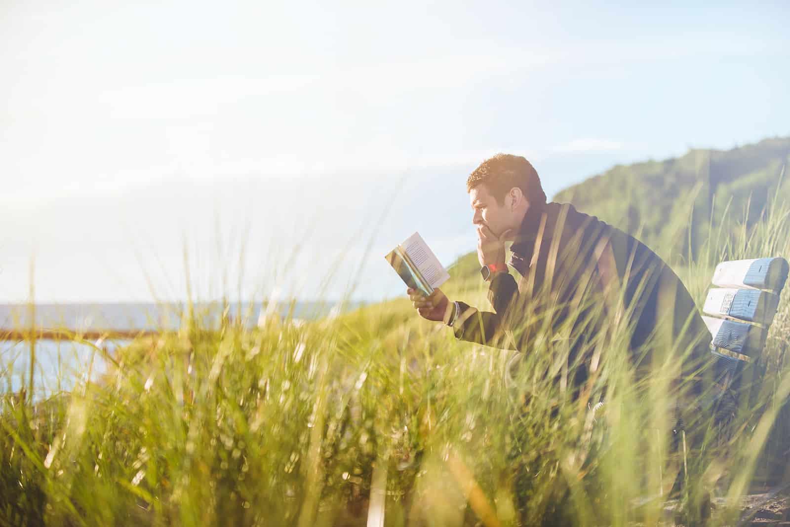 ein Mann, der ein Buch liest, das auf der Bank im hohen Gras sitzt