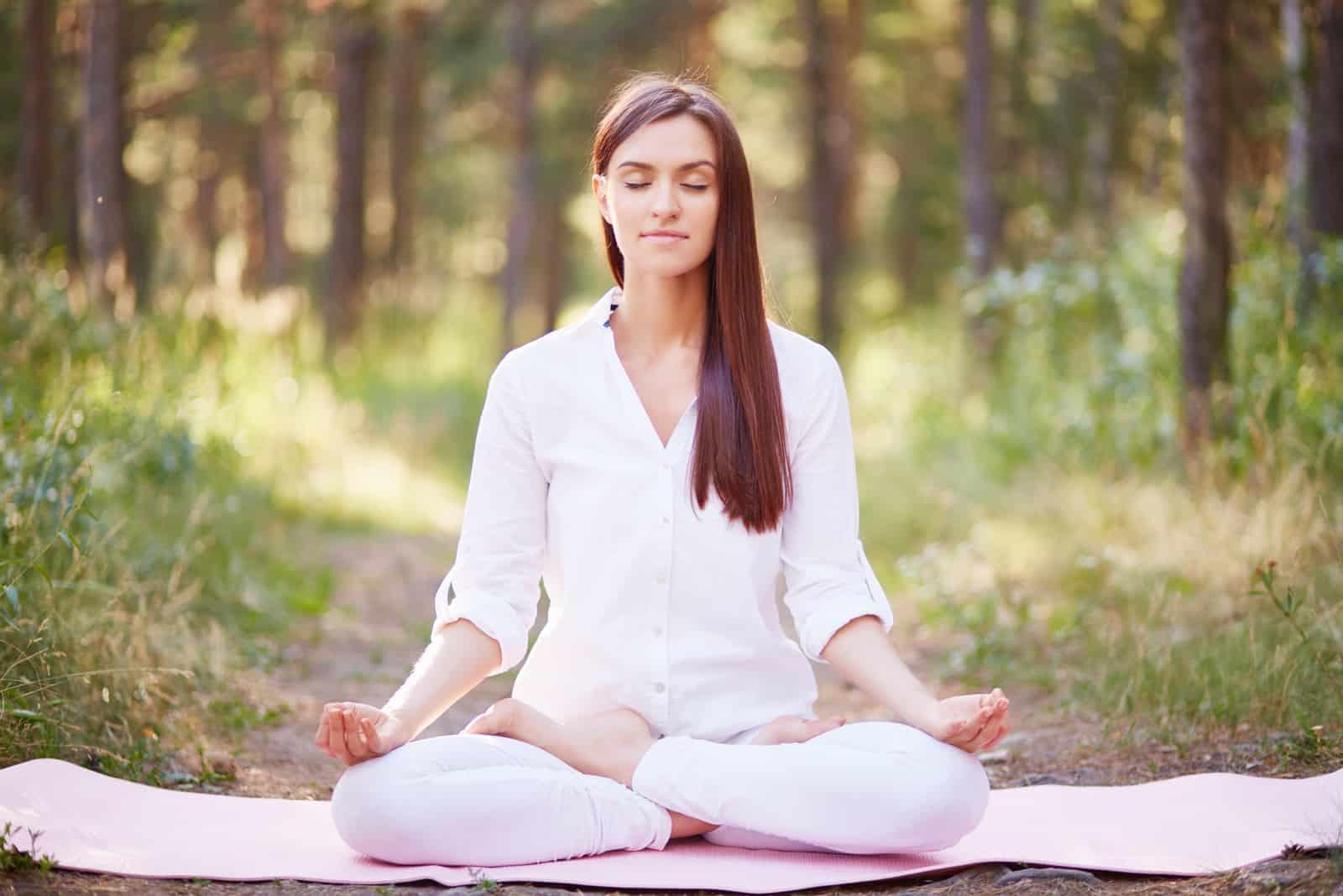 schöne brünette meditiert in der natur