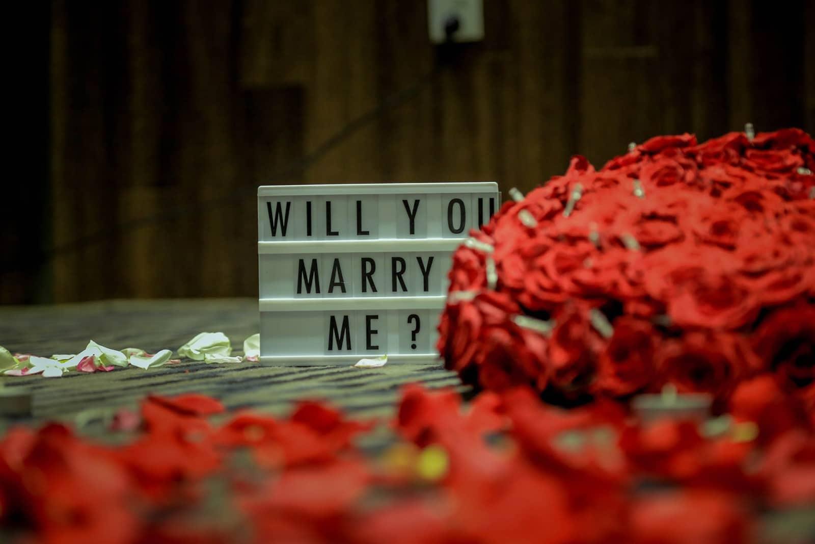 willst du mich heiraten auf dem Leuchtkasten mit roten Rosen ringsum