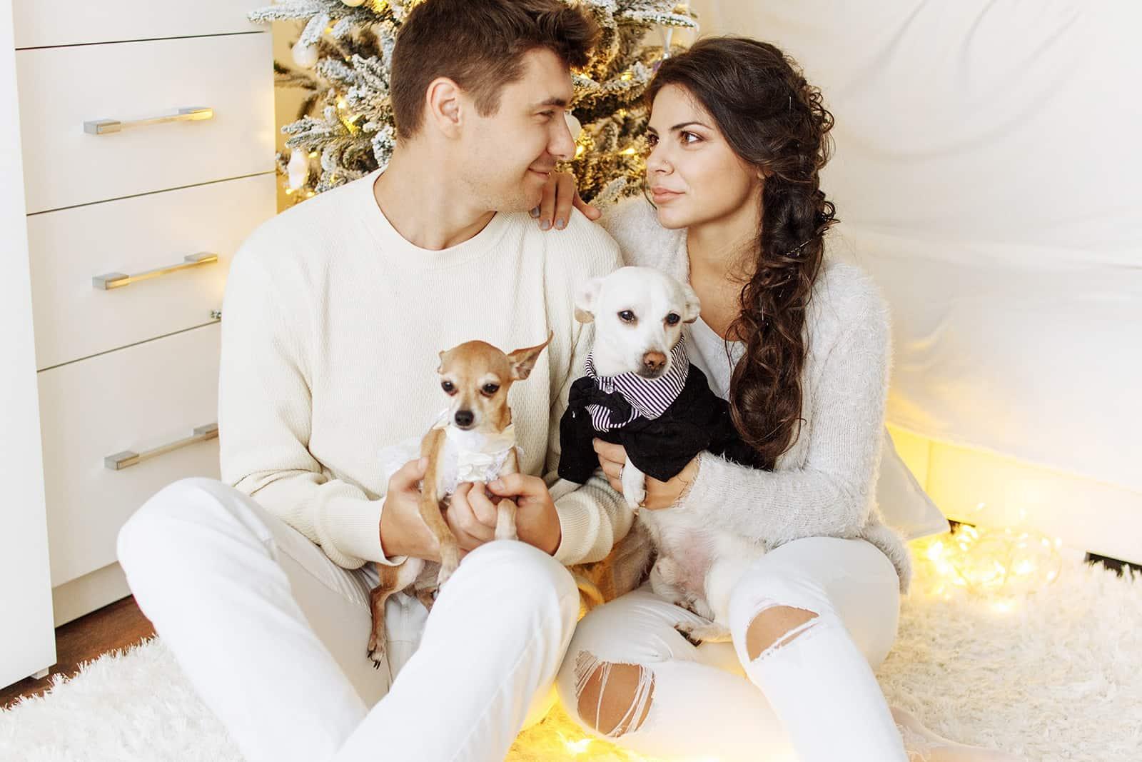 ein liebevolles Paar, das sich gegenübersteht, während es seine Hunde in den Armen hält