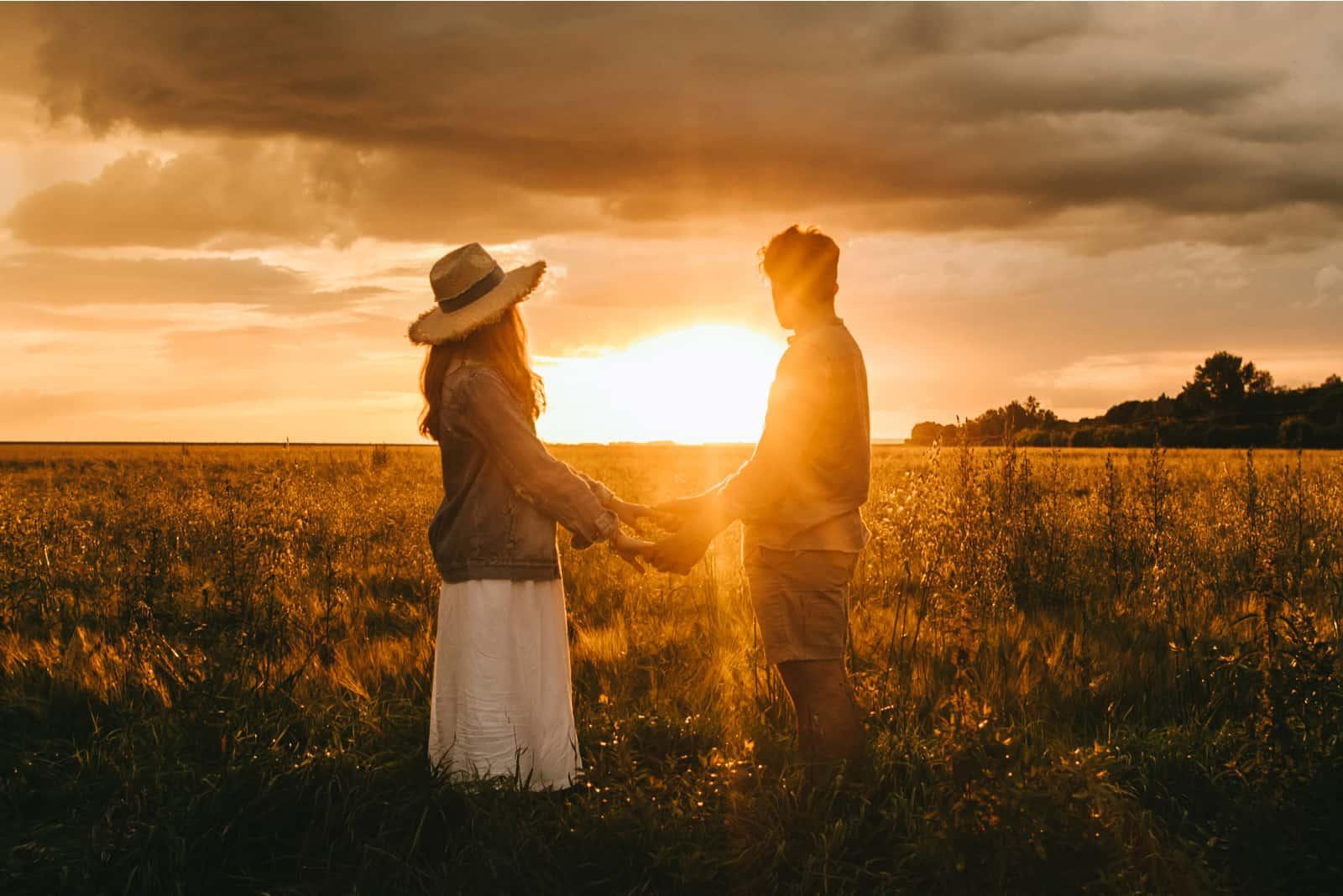 stilvolles Paar, das Hände auf Wiese bei schönem Sonnenuntergang hält