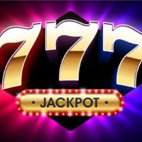 großer Gewinn-Jackpot mit dreifachen glücklichen Siebenen auf hellem Hintergrund, Casino-Glücksspiel-Banner, Vektorillustration