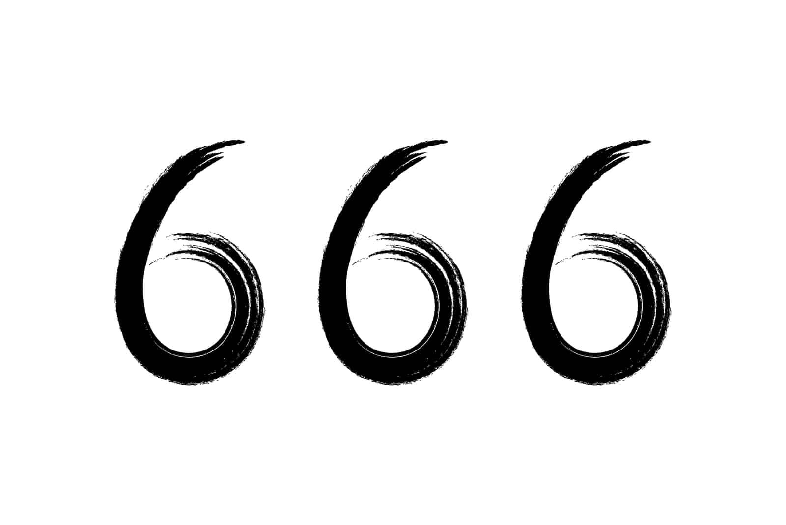 Nummer 666 auf weißem Hintergrund