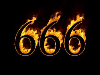 Nummer 666 auf schwarzem Hintergrund